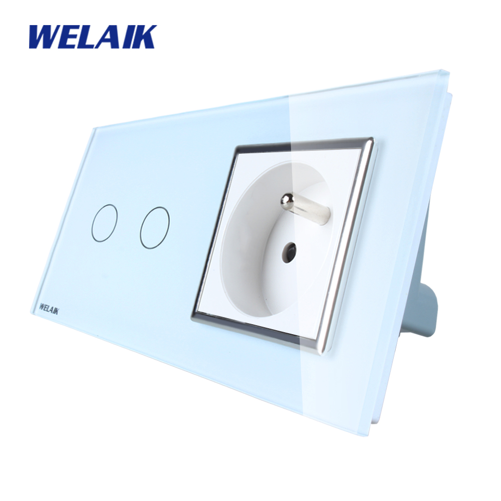 WELAIK Brand 2Frame Crystal Glass Panel Wall Switch EU Touch Switch Screen Wall France Socket 2gang1way AC110~250V A29218FCW/B scinder switched socket package 15 steel frame two or three five hole electrical outlet wall switch panel switch