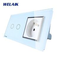 WELAIK 2 Frame Crystal Glass Panel White Black Wall Switch EU Touch Switch Screen Wall Socket