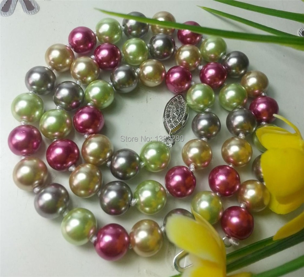 ! new Fashion Style diy 8mm Color Ocean Sea Shell Pearl Necklace 18