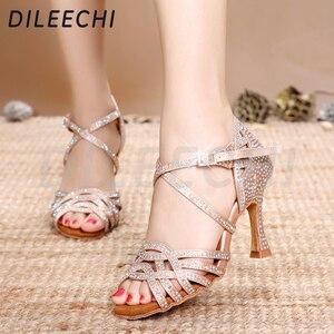 Image 4 - DILEECHI zapatos de baile latino con diamantes de imitación para mujer, zapatos de salón de Salsa, Cuba, tacón alto de 9cm, Software de Vals, gran oferta, bronce piel