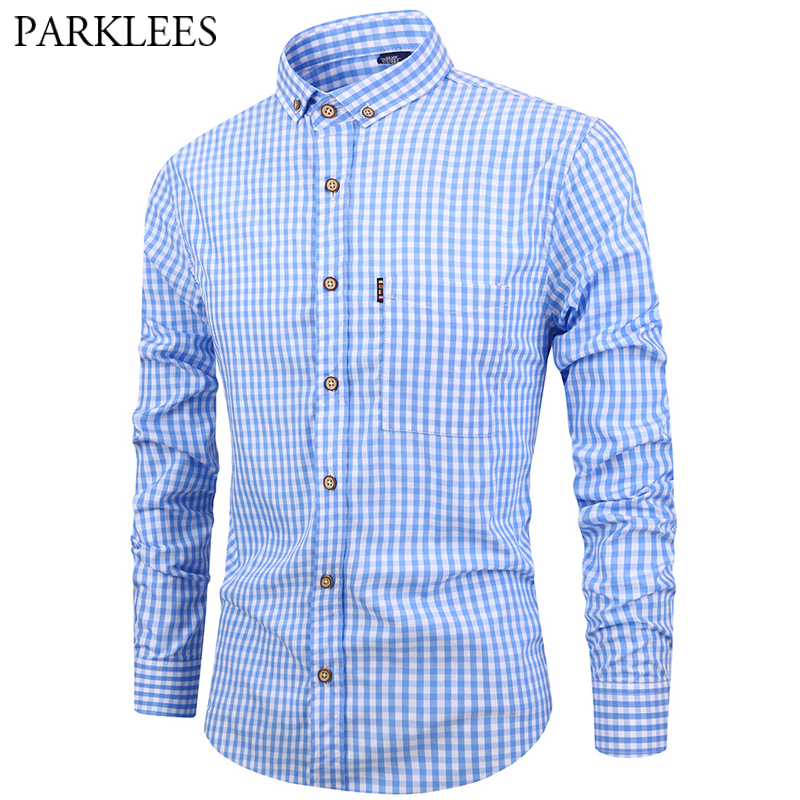 Preppy Style Plaid Shirt Men Casual Square Collar Mens Blue Button Down Dress Shirts With Pocket Long Sleeve Fashion Street Wear