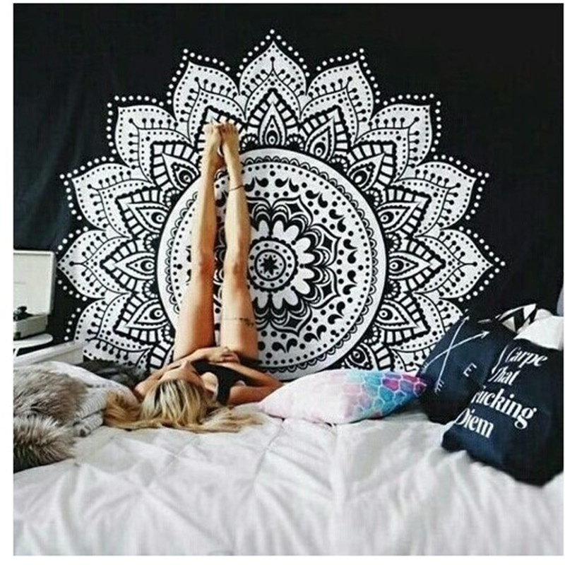 1PC Polyester <font><b>Indian</b></font> Mandala <font><b>Tapestry</b></font> <font><b>Bohemian</b></font> Wall Hanging <font><b>Tapestries</b></font> Boho Wall Carpet Beach Picnic Throw Rug Blanket Bedspread