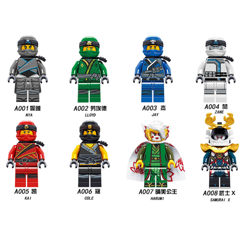 8pcs/set Building Blocks A001-008 Ninjagoingly Toys Nya Lloyd Jay Zane Kai Cole Harumi Samurai X Collection Compatible Kids Toys