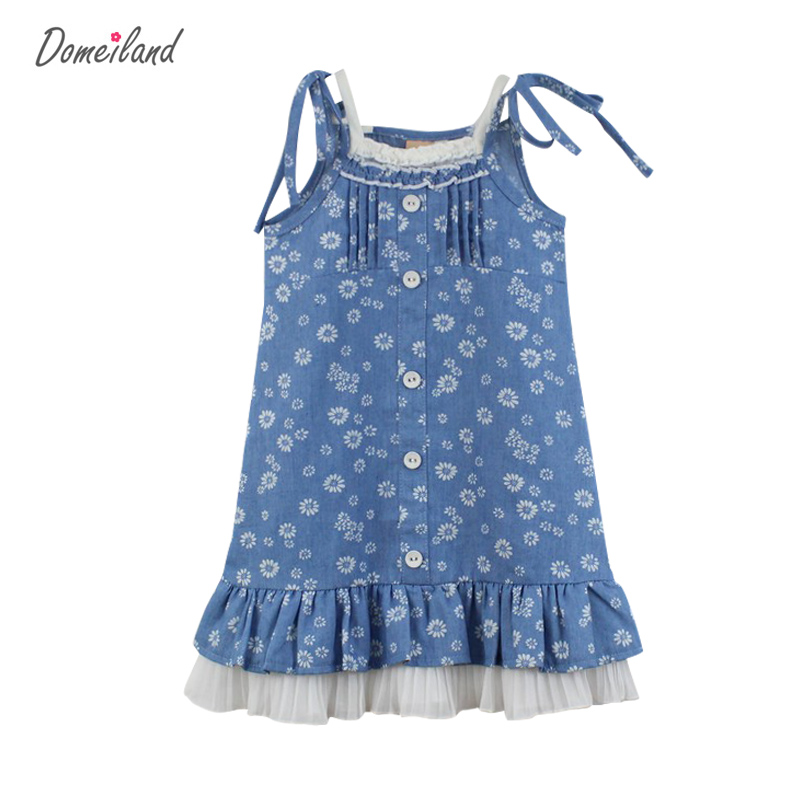 2017 summer children clothing for brand domeiland cute kids girls sleeveless cotton Princess Floral print vest dress clothes new girls dress brand summer clothes ice cream print costumes sleeveless kids clothing cute children vest dress princess dress
