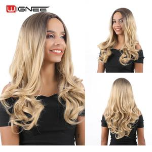 Wignee Middle Part Ombre Blonde Long Wavy Hair Synthetic Wig For Women Natural Heat Resistant Daily/Party Fiber Natural Hair Wig(China)