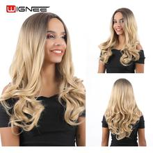 Wignee Hand Made Front Ombre Color Long Blonde Synthetic Wigs For Black/White Women Heat Resistant Middle Part Cosplay Hair Wig wignee 3 tone ombre women wig black to brown blonde middle part heat resistant synthetic wigs cosplay hair for african american