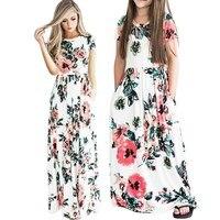 Летняя одежда «Мама и я» подходящая друг к другу одежда пижамы семейная одежда платья для мамы и дочки макси Vestidos мама платья для девочек