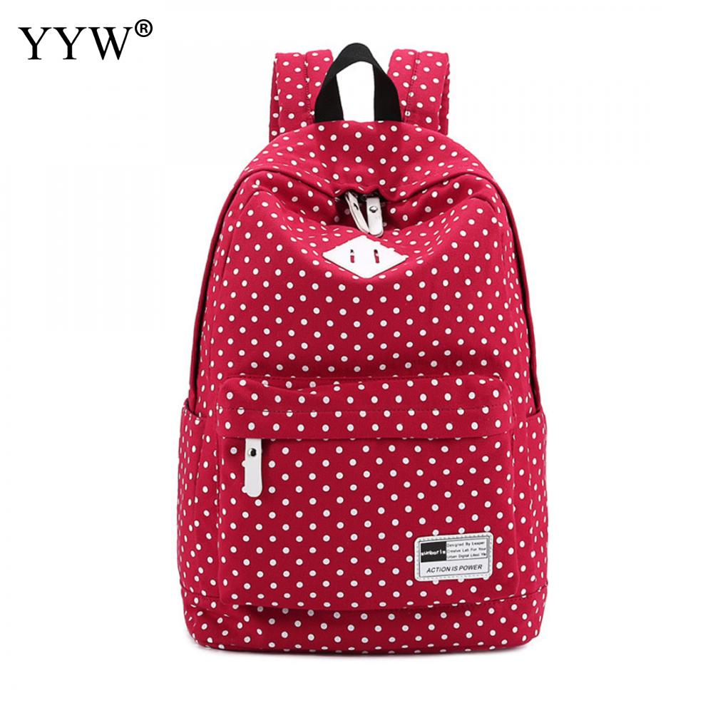 Rose Backpack Purse Canvas Lady's-Bags Large-Capacity High-Quality Children Dot For Case