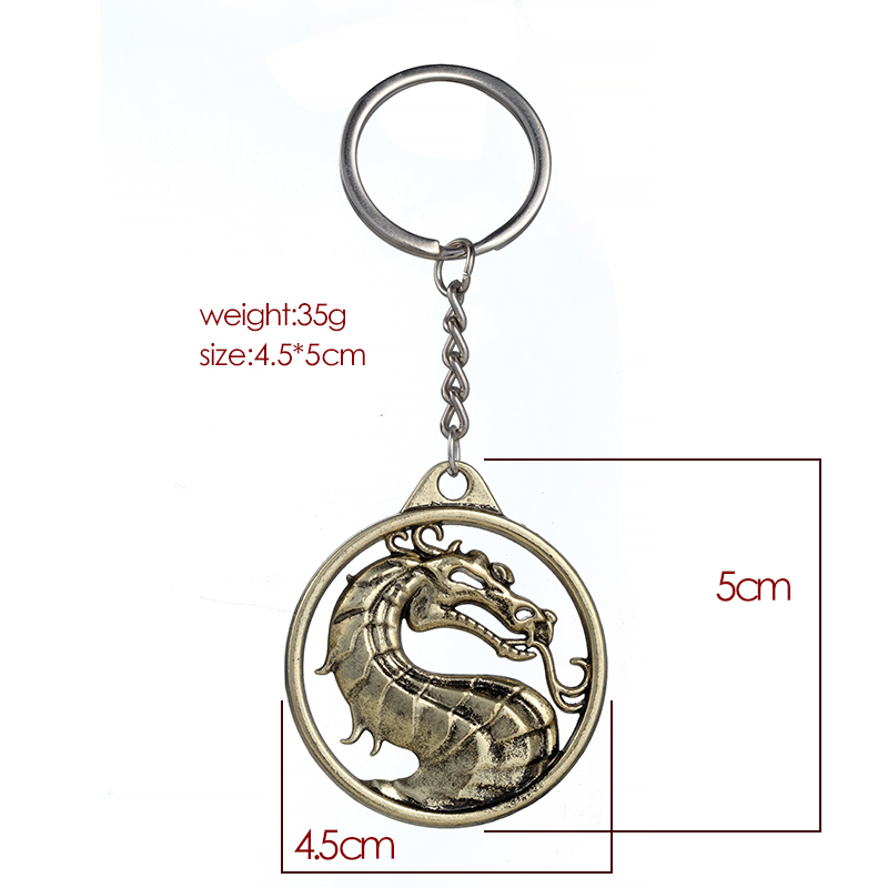 ZRM модный винтажный брелок для ключей Mortal Kombat с изображением дракона тотема, брелок для ключей из сплава, подарок для мужчин, аксессуары для автомобильных ключей