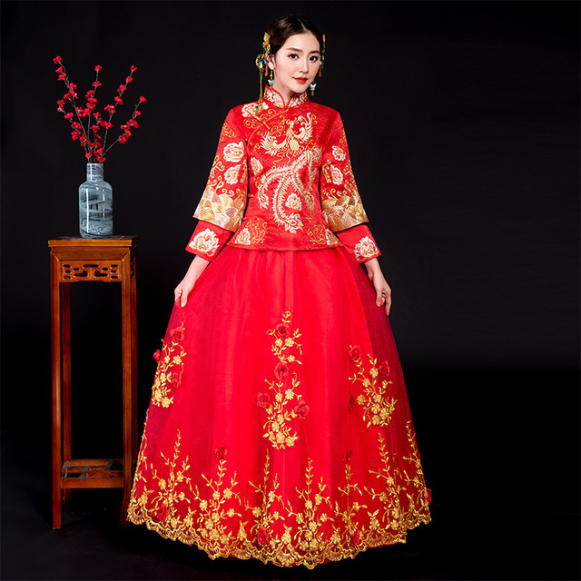 New Red traditional chinese wedding dress Qipao National Costume ...