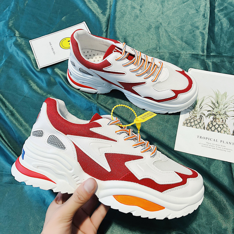 BomKinta 2019 New Red Men Chunky Sneakers Lace-up Shoes White Platform Stylish Mixed Color Breathable Adult Male Tenis Footwear