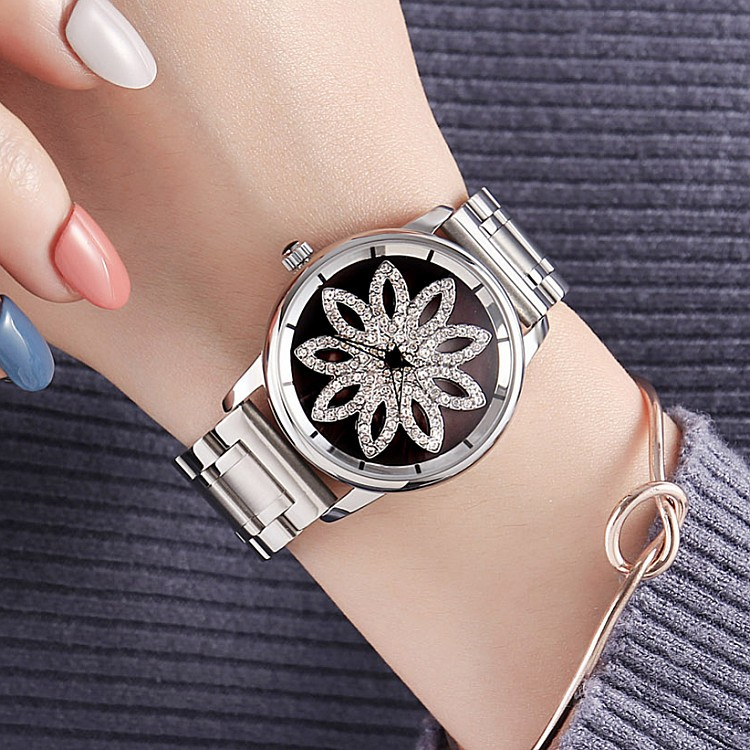 New GUOU Lady Crystal Rotation Watch Women Luxury Stainless Steel Dress Watch Fashion Silver Watches Female Quartz Wristwatches onlyou brand luxury fashion watches women men quartz watch high quality stainless steel wristwatches ladies dress watch 8892