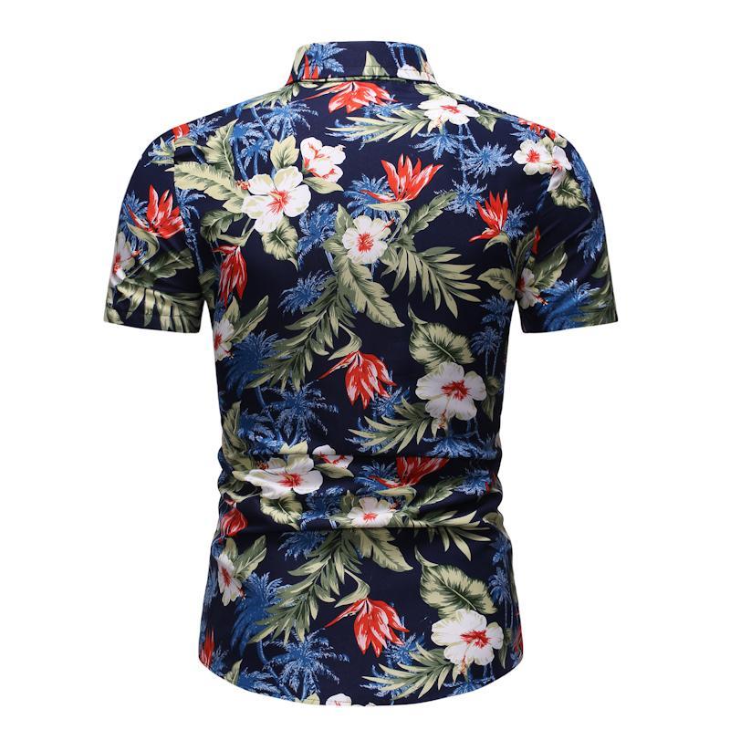 Flower Men Shirt Dress Short Sleeve Casual Floral Shirt For Men Hawaiian Beach Blouse Men Fashion Ready Stock