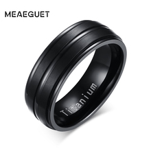 купить Meaeguet Black Titanium Carbide Rings For Men 3 Lines Design 8MM Wide Fashion Party Jewelry Boyfriend/Husband Gift дешево