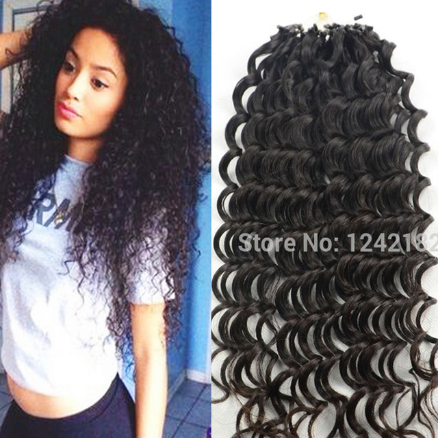 7a Remy Micro Loop Human Hair Extensions 100g Brazilian Deep Curly