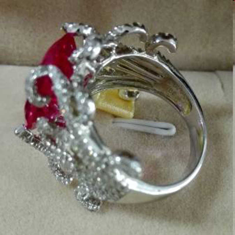 Anillos Qi Xuan_Fashion Jewelry_Customized สีแดงหิน Rings_S925 Solid เงินหินสีแดง Rings_Factory โดยตรงขาย