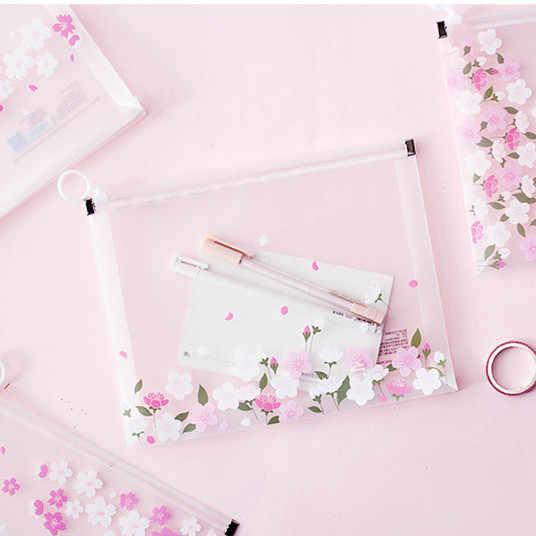 1 pièce Kawaii Sakura A4 papiers livres organisateur sac bureau dossier école crayon mallette de rangement fournitures de papeterie