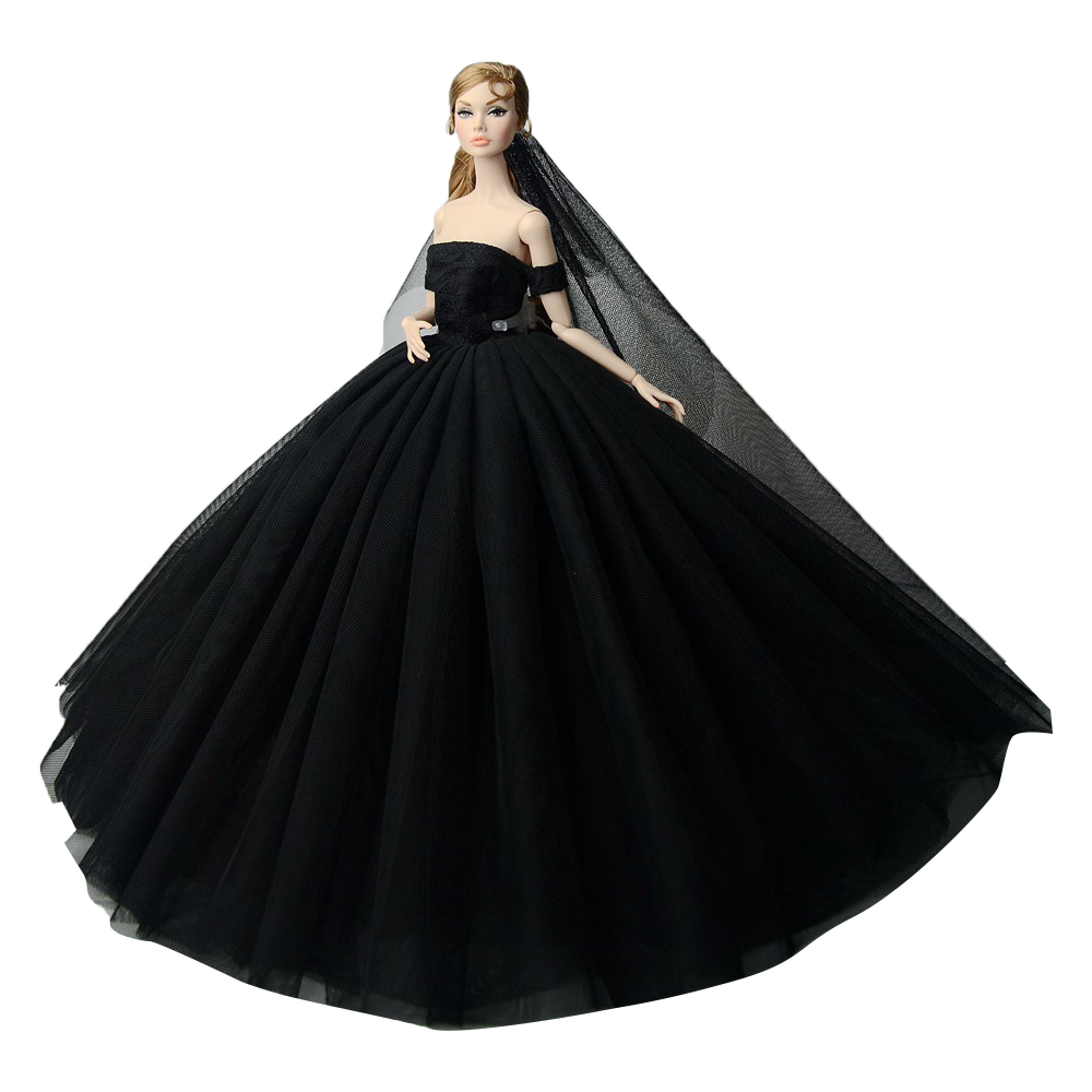 NK 2019 Newset Fashion Doll Dress Princess Doll Costumes Beautiful Party Outfit For Barbie Doll Accessories Best Girls' Gift 2 items 1dress 1 set accessories 1pair earing 1necklace little girls s gift luxurious wedding dress for barbie doll