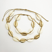 Fashion natural shell handmade necklace for women charm beige gold short choker chain hand neck jewelry gift