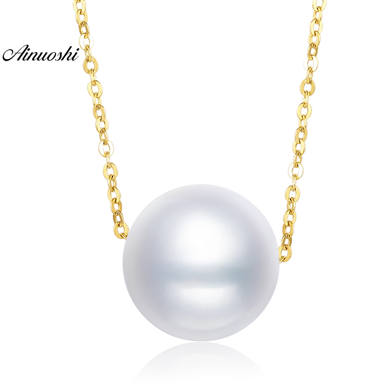 AINUOSHI 18K Yellow Gold Natural Cultured Freshwater Pearl Link Chain Wedding Jewelry Big 1PC Round White Pearl Pendant Necklace ainuoshi 18k yellow gold natural cultured freshwater pearl moon pendant woman wedding 5 5 6mm aaaaa pearl engagement lover chain