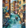 Картина по номерам «сделай сам», Прямая поставка, 40x50, 50x65 см, лодка в водном городе, пейзаж, холст, свадебное украшение, художественное оформл...