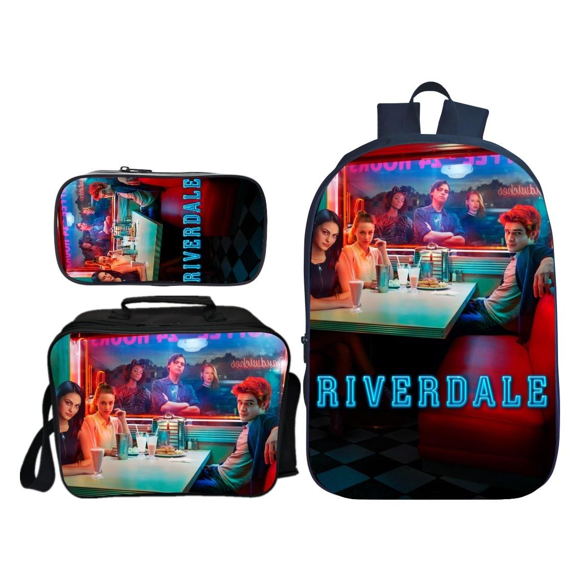 Printing Notebook School-Backpack Travel Riverdale Shoulder-Bag Children for Kids 3pcs/Set