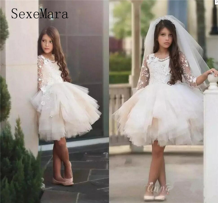 Ivory White Girls Dresses For Party Jewel Neck Long Sleeves Lace Flowers Knee Length Tiered Birthday Girl Pageant Dress недорго, оригинальная цена