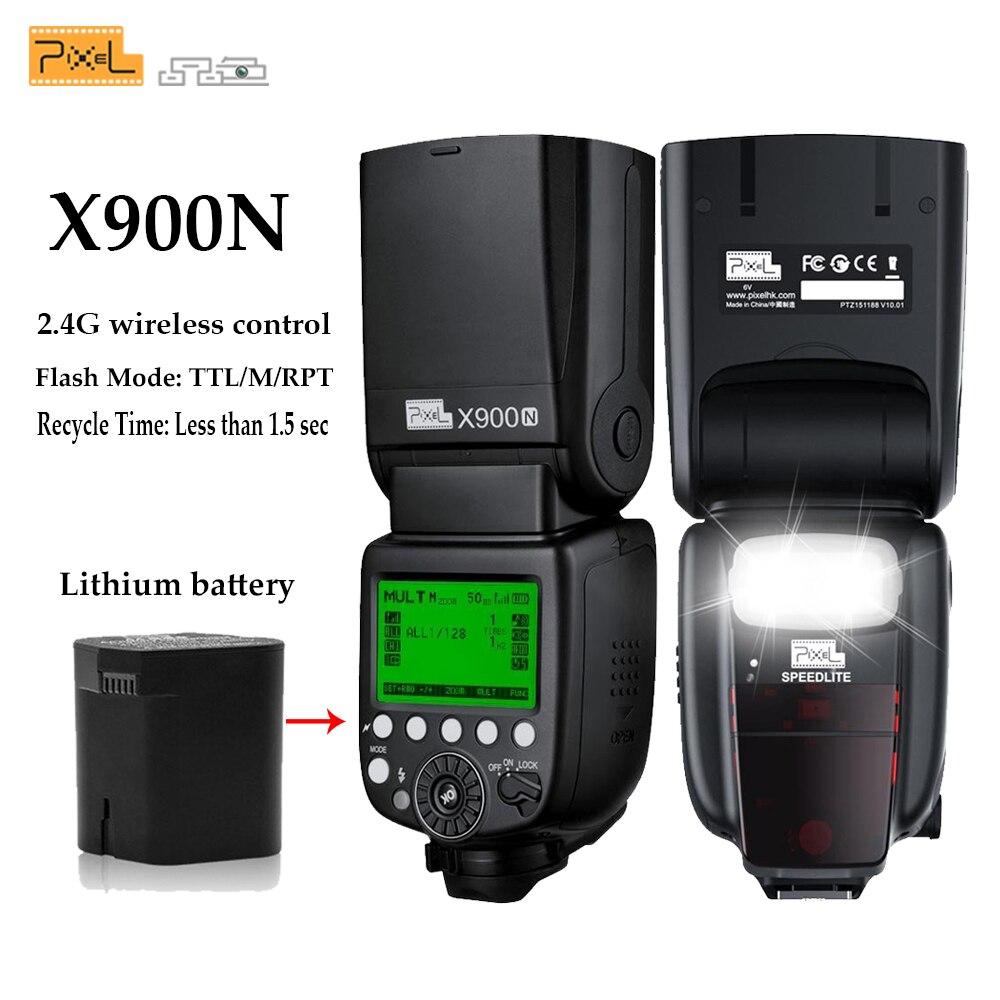 Pixel X900N X900 TTL 2.4G HSS Sans Fil Batterie Au Lithium Multifonctionnel Flash Speedlite pour Nikon Appareils Photo REFLEX avec LED Lumière