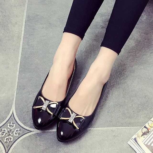 Flat Shoes Women Leather Women's Loafers 2017 Spring Summer New Ladies Shoes Flats Womens mocassin Plus Size Bow shallow  113 2017 spring summer new pointed flat flock bow women s shoes work shoes ballerina flats plus size 34 41