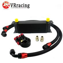 VR-Universal 13ROWS OIL COOLER ENGINE KIT+AN10 oil Sandwich Plate Adapte with Thermostat+2PCS NYLON BRAIDED HOSE LINE BLACK