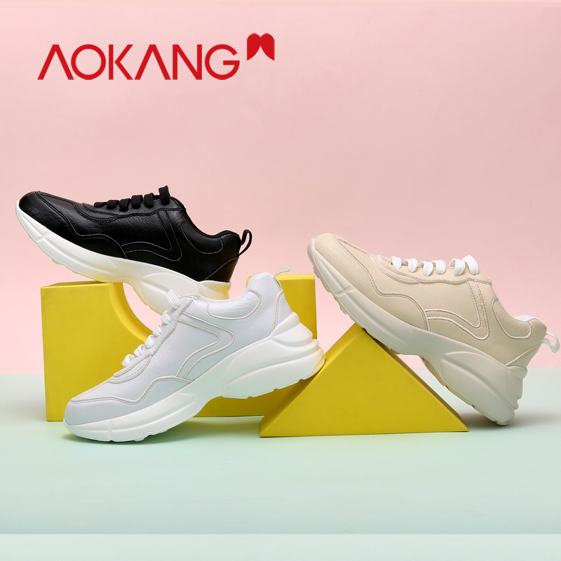 AOKANG Women's Sneakers Women Genuine Leather Platform Casual Shoes Lace Up Vulcanize Shoes Woman Female Trainers Outdoor Shoes