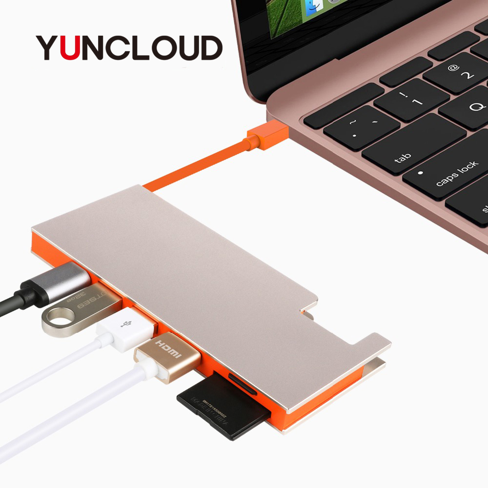 YUNCLOUD USB Type-C 3.1 Hub to USB 3.0/4K 30Hz HDMI/TF SD Card Reader/PD Charging For Laptop Macbook Converter Adapter type c to 4k hdmi pd chargeging hub adapter usb c 3 1 converter sd tf card reader for macbook qjy99