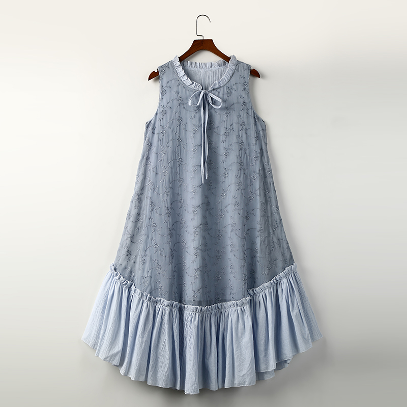 Mori Girl Style Bow Embroidery Tank Dress Cute Solid Loose Casual Sleeveless Boho Summer Dress For
