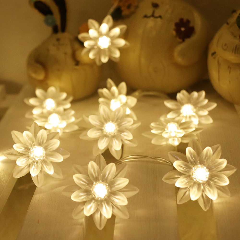 Lotus Light String LED Flower Garland Lights For Wedding Christmas Outdoor Party Xmas Ramadan Fairy Decoration Lighting HL