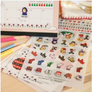 5 sheets/1 lot cartoon stationery deco kawaii planner stickers Odong et Valerie diary sticky note/post it/Decoration Label