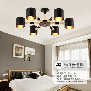 Деревянная люстра для гостиной от сети переменного тока 90-260 V Led E27 бар офисные люстры приспособление освещения дома белый/черный железа аба...