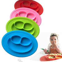 Safe Food Grade Silicone Smiling Placemat Divided Kids Tableware Lunch Dinner Dishes Plates Bowl Holder Kitchen Accessories