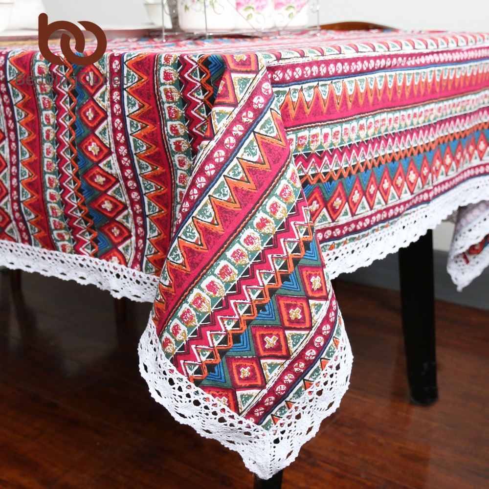 BeddingOutlet Red Boho Tablecloth Geometric Bohemian Dining Table Cloth  With Lace Cotton And Linen Multi Sizes