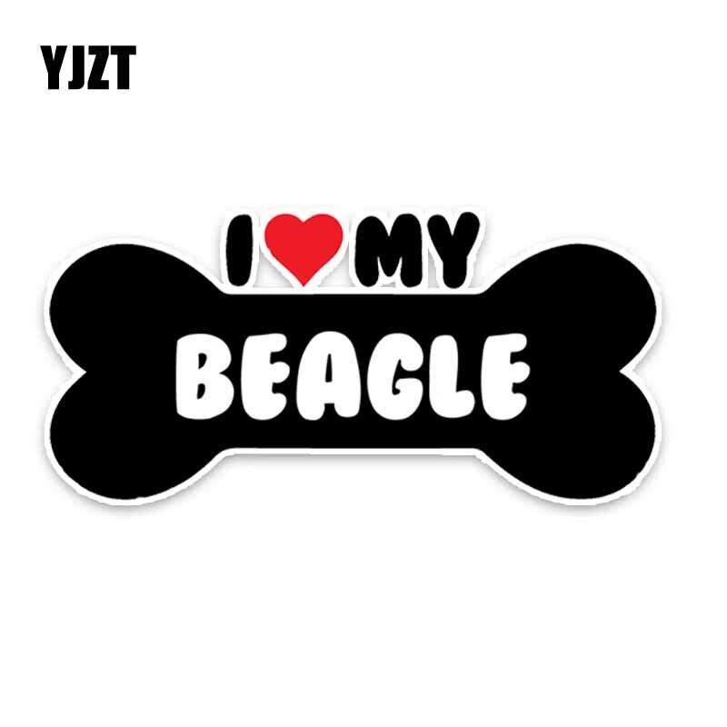 YJZT 15*7.1CM I Heart My Beagle Dog Bone PVC Car Bumper Car Sticker Decals C1-4166
