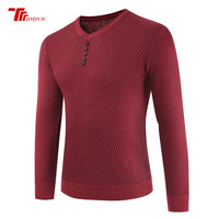 Solid Color Pullover Men V Neck Sweater Men Long Sleeve Tops Button Wool Casual Dress Brand Cashmere Knitwear Pullover Sweaters
