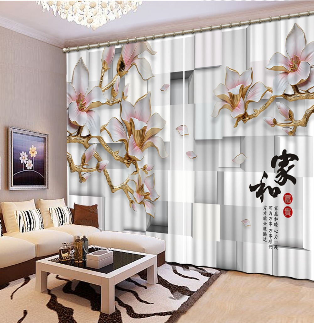 Curtain Printing Blockout  Photo Drapes Fabric For Room Bedroom Three-dimensional, Square Magnolia 3D Curtain Classic Home Decor