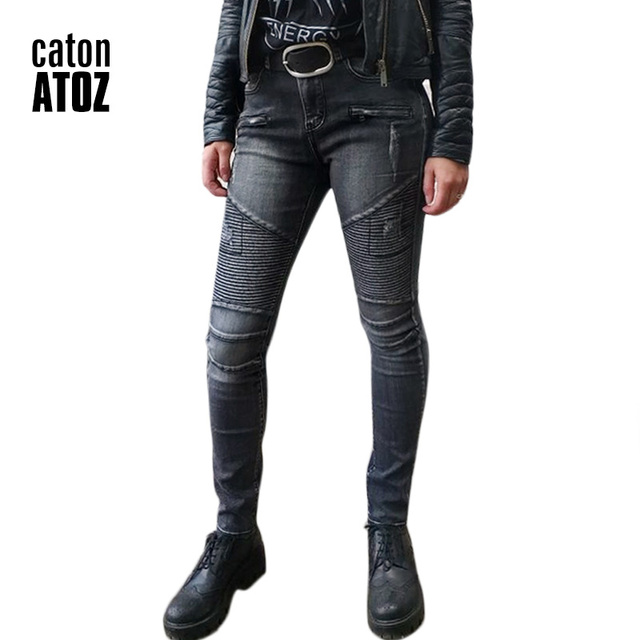 f79ead9289 catonATOZ 2168 Women Fashion Black Punk Motor Biker Jeans Women`s Stretch  Slim Fit Ripped Denim Pants Skinny Jeans For Woman