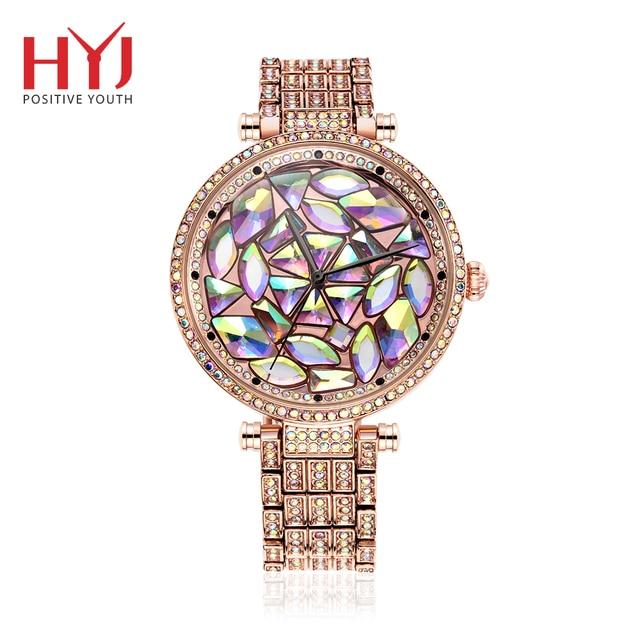 Лидирующий бренд со стразами цвета розового золота со стразами часы женские моды стали женские кварцевые Bling платье часы для дамы браслет h624