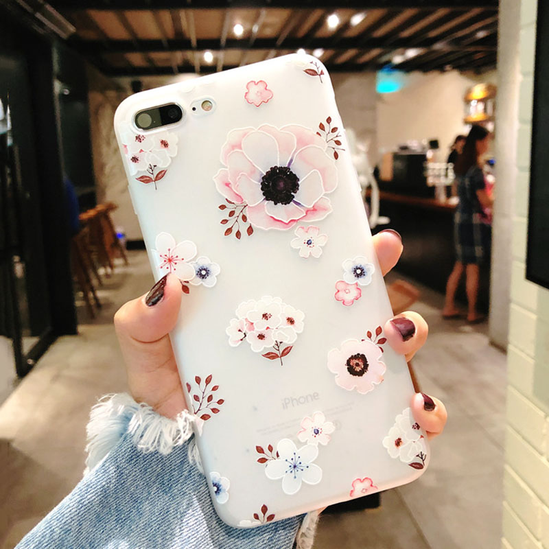 KIP7P1152B_1_Flowers Pattern Soft TPU Case for iPhone 7 Plus