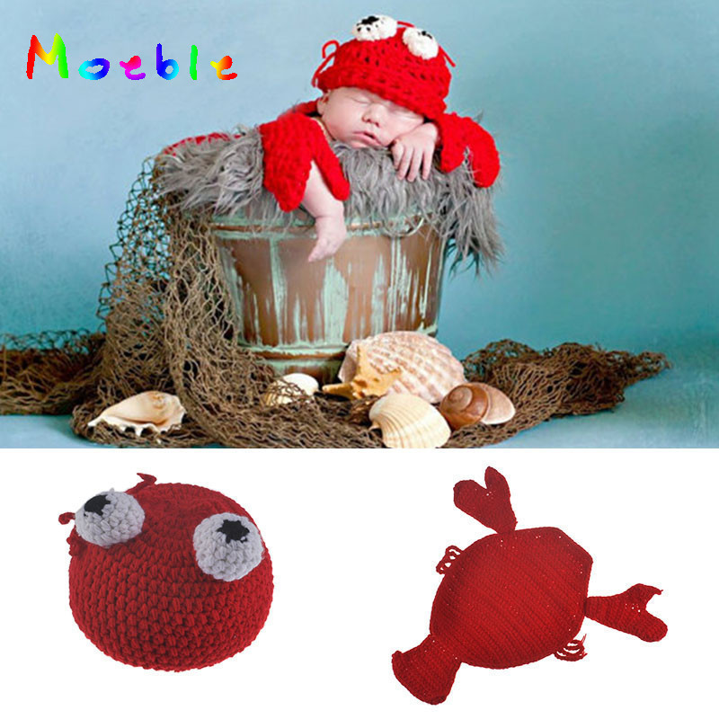 Crochet Baby Unisex Lobster Hat and Cape Set Cute Newborn Boy Girls Photo Photography Props Knitted Infant Baby Hats Beanie