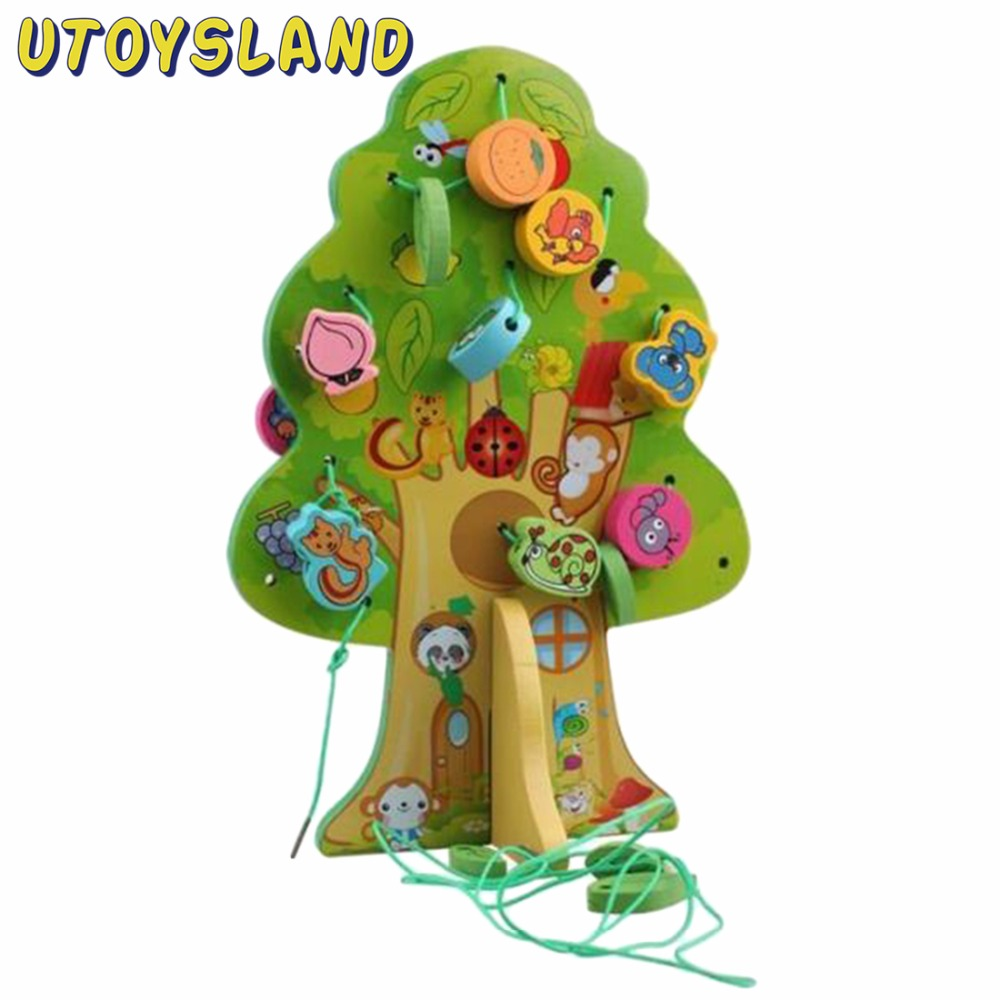 UTOYSLAND DIY Wooden Tree Lacing Beads Toys for Preschoolers Early Educational Toy for Kids ball run track game toy wooden puzzles diy mini tree baby kids education puzzles fun kids toys m3011