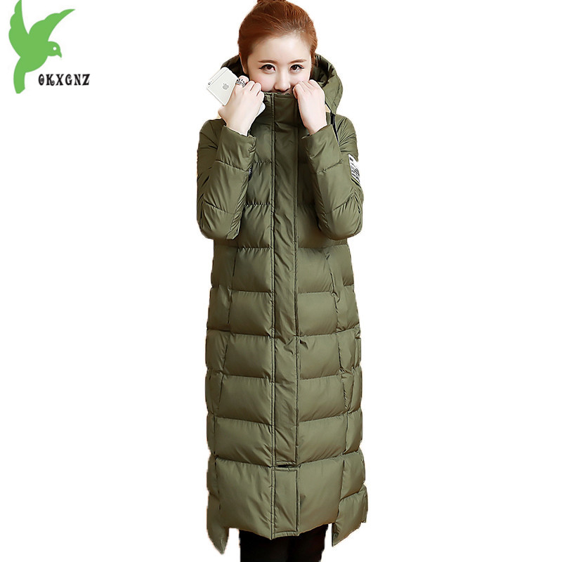 Women Winter Down Cotton Jacket Coats Long style Parkas Fashion Hooded Jackets Plus size Slim Coats Thick Warm Parkas OKXGNZ1153 купить