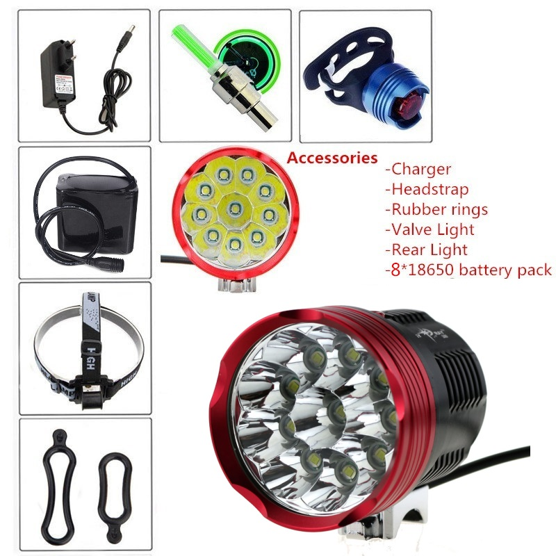 20000 Lumens 10xCREE XM-L T6 10T6 LED Front Bicycle Lamp Bike Lights Set (Include Charger Headstrap 8.4V 18650 Battery Pack)