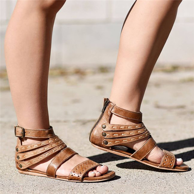 Flat Sandals Beach-Shoes Female Roman Ladies Casual Retro -40 Belt-Buckle