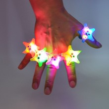 Light-Up Jelly Starfish Finger Rings Flashing LED Rave Party Blinking Glow Ring Christmas New Year(China)